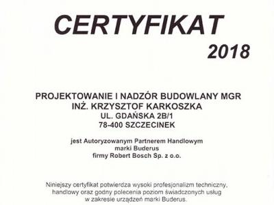 Certyfikat Buderus 2018